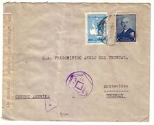 TURKEY - WWII CENSORED COVER TO URUGUAY EGYPT CENSORSHIP RARE DESTINATION