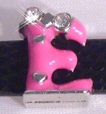 """♥ Slider Schiebe Modul Slide Charm """"E"""" pink Strass rosa silber ♥ MLAB013"""
