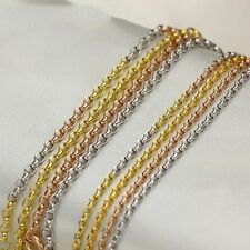 """Charming Real 18k Rose Gold 19.6"""" Necklace Women Pretty 2.5mm Rolo Chain 3.3-4g"""