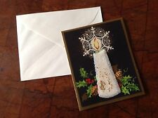 Vintage Christmas Card 3D Candle New Year Black Background, Holly, Pinecones