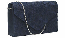 Women Satin Lace Envelope Ladies Evening Party Prom Bridal Smart Clutch Bag Blue