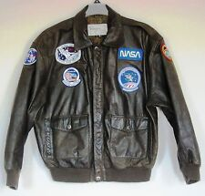 FLIGHT Bomber JACKET Mens Size L large Brown, with NASA Patch.