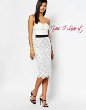 Rare London 2 In 1 Sequin Midi Party Dress With Scalloped Hem White UK12 EU40