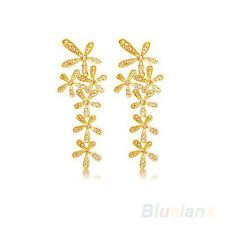 Gold plated drop earrings Flower style classic crystal