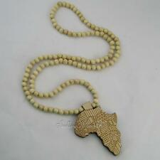 Pendant Rosary Necklace Wood Free Long Beaded Ball Chain Africa Continent Map