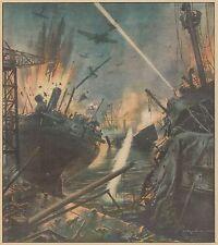 K0867 Aviazione italiana attacca di notte navi nemiche - Stampa antica
