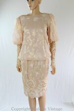 Vintage 80s JUDY HORNBY COUTURE Dress Pink Sequin Lame Foiled Silk S-M 6