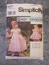 """Simplicity Sewing Pattern 9097 Matching Girl 18"""" Doll Dresses Sz 3 4 5 6 Trimmed"""