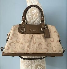 COACH F15445 Ashley Satin / Metallic Leather Convertible Satchel Purse