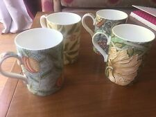 FOUR Beautiful Royal Worcester  Morris & Co Porcelain Mugs
