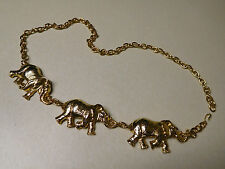 Vintage Accessory Accent NYC Gold Tone Lucky Elephant Chain Belt