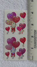 Sandylion HEART SHAPED BALLOONS Strip (2 Sqs) RETIRED Vtg Prism Stickers