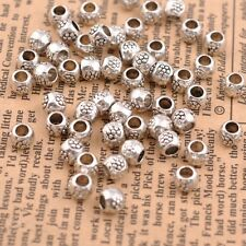 50/100Pcs Antique Tibetan Silver Round Charm Spacer Beads for Bracelet JK3035