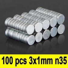 100pcs Imanes De Neodimio Disco 3mm x 1mm Magnet Imán Envío Fuerza N35