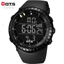 OTS Man Sports Watches Black Waterproof Fashion Large Face LED Digital