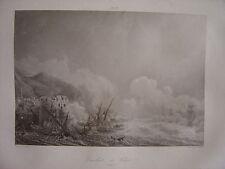 Grande gravure du Combat de CHIO  Bataille Duquesne vs Pirates de Tripoli 1681