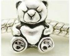 925 STERLING SILVER FINISH TEDDY BEAR WITH HEART CHARM BEAD