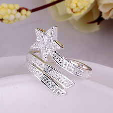 Hot New Fashion 925 Sterling Silver Retro Stars Rhinestone Crystal Ring Gift