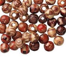 4183NB Bead Mix Wood Painted Brown Red Yellow 10mm Round 3mm hole, 100 Qty