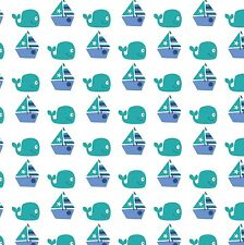 """Seawater Friends Sailing 100% cotton 43"""" Fabric by the yard"""