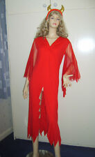 LADIES SHE DEVIL GIRL HALLOWEEN FANCY DRESS COSTUME S/M 8-12 USED