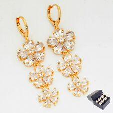 24K Gold Filled Clear Zircon Women's Luxury Drop Earrings Gift Box Packing