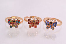 10pcs Wholesale Jewelry Lots Butterfly CZ Rhinestone Gold Plated Rings Free Ship
