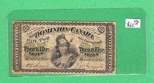 1870 Dominion of Canada - 25 Cents Shinplaster Bank Note - Very Good