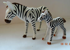 LE ZEBRE + SON BEBE PLAYMOBIL ANIMAUX ANIMAL SAVANE SAUVAGE ZOO