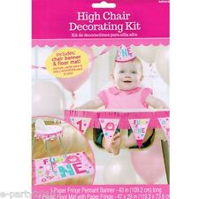 1st BIRTHDAY One Wild Girl HIGH CHAIR DECORATING KIT ~ First Party Supplies Pink