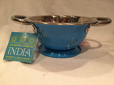 NWT BERRY COLANDER, Handcrafted in INDIA, Blue, 2 Handles, FREE SHIPPING