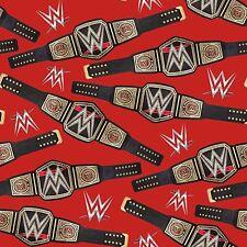"""WWE Logos & Belts World Heavyweight Champion 100% cotton fabric remnant 23"""""""