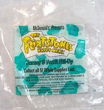 1993 McDonalds The Flinstones Barney & Fossil Fill-Up Toy BAG Near Mint+ C9!