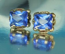 WOW! c.1930s Earrings~Signed MEXICO SILVER~Facted Prong Set BLUE Rhinestones~EX!