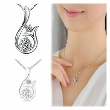 Silver Plated Women Mermaid Necklace Pendant Zircon