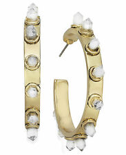 House of Harlow Gold-Tone Crystal Spike Hoop Earrings NWT