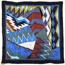 "Fashion LOREDANO Patchwork Abstract GEOMETRIC Brown Green Blue Silk 33"" Scarf"