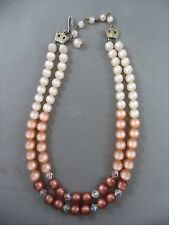 Vintage Double Strand Brown Shades Bead Faceted Crystal Accents Necklace Choker