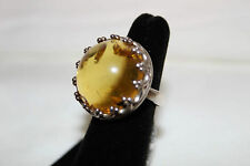 Artisan Crafted Sterling Bold Baltic Amber Royal Domed Cocktail Ring Sz 8 QVC