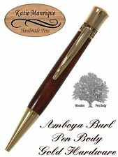 Endeavour B Twist Action Ball Point In Amboya Burl With Gold Trim / #467