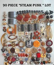 Vintage JEWELRY parts (90) pc AMAZING STEAMPUNK VARIETY LOT#17 **FREE SHIPPING**