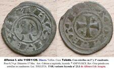 ALFONSO I de ARAGON- AÑO 1109/1126. DINERO Vellón. Ceca de TOLEDO. Peso 0,74 gr.
