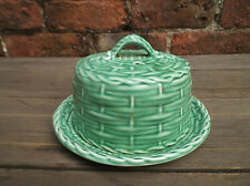 VINTAGE GREEN SYLVAC BUTTER / CHEESE / MUFFIN / SCONE DISH, BASKET WEAVE PATTERN