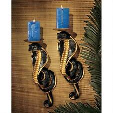 Set of 2: Egyptian Revival Style Cobra Goddess Wall Sconce Snake Candle Holder