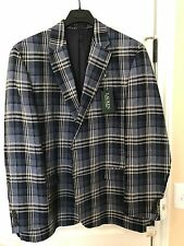 Ralph Lauren Mens Blazer Coat Blue Plaid 46L NWT $300