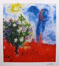 MARC CHAGALL Signed Lithograph COUPLE ABOVE ST. PAUL