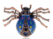 Metal Enamel Blue Vivid Spider Insect Spots Costume Pin Brooch Pendant