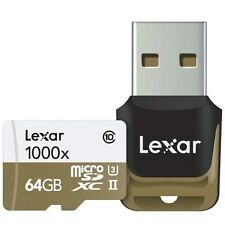Lexar 1000x (64GB) Professional microSDXC UHS-II (U3) Card (Class 10) with Card