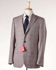 NWT $3895 ISAIA Beige Windowpane 160s Aquaspider Wool Suit 36 R + Hanger/Pin