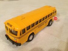 "Vintage Coach School Bus 5"" Die Cast Pull Back Action Opening Door and Stop Sign"